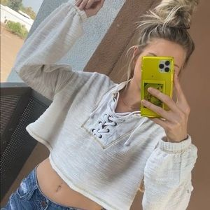 Urban outfitters sweater crop top w laceup front